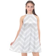 Zigzag  Pattern Halter Neckline Chiffon Dress