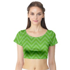 Zigzag  pattern Short Sleeve Crop Top (Tight Fit)