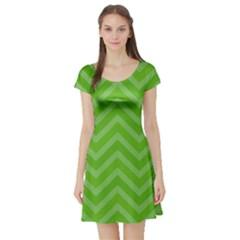 Zigzag  pattern Short Sleeve Skater Dress