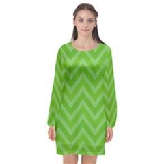 Zigzag  Pattern Long Sleeve Chiffon Shift Dress
