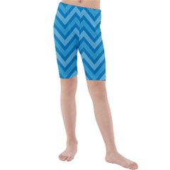 Zigzag  pattern Kids  Mid Length Swim Shorts