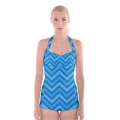 Zigzag  pattern Boyleg Halter Swimsuit