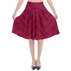 Zigzag  Pattern Flared Midi Skirt