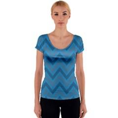 Zigzag  pattern Women s V-Neck Cap Sleeve Top