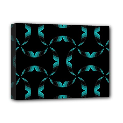 Background Black Blue Polkadot Deluxe Canvas 16  x 12