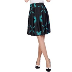 Background Black Blue Polkadot A-Line Skirt