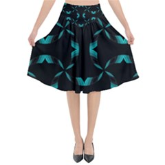 Background Black Blue Polkadot Flared Midi Skirt
