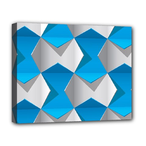 Blue White Grey Chevron Deluxe Canvas 20  x 16