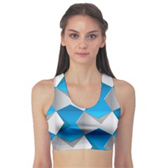 Blue White Grey Chevron Sports Bra