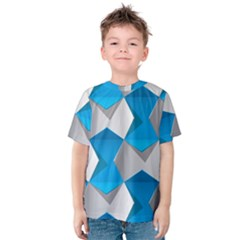 Blue White Grey Chevron Kids  Cotton Tee