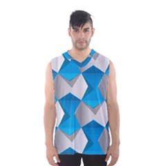 Blue White Grey Chevron Men s Basketball Tank Top