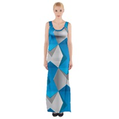 Blue White Grey Chevron Maxi Thigh Split Dress