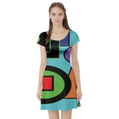 Basic Shape Circle Triangle Plaid Black Green Brown Blue Purple Short Sleeve Skater Dress