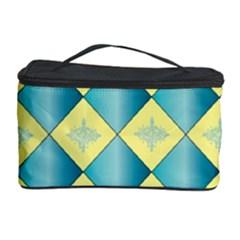 Yellow Blue Diamond Chevron Wave Cosmetic Storage Case