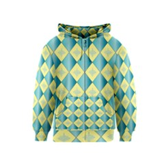 Yellow Blue Diamond Chevron Wave Kids  Zipper Hoodie