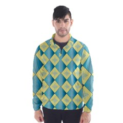 Yellow Blue Diamond Chevron Wave Wind Breaker (Men)