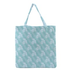 Christmas Day Ribbon Blue Grocery Tote Bag