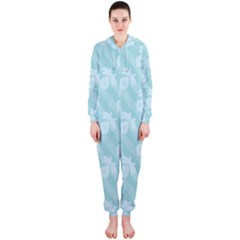 Christmas Day Ribbon Blue Hooded Jumpsuit (Ladies)