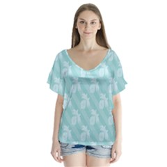 Christmas Day Ribbon Blue Flutter Sleeve Top