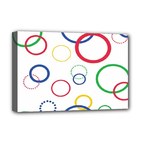 Circle Round Green Blue Red Pink Yellow Deluxe Canvas 18  x 12