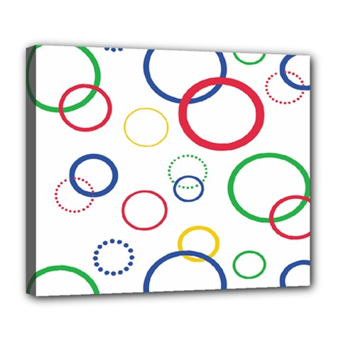 Circle Round Green Blue Red Pink Yellow Deluxe Canvas 24  x 20