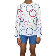 Circle Round Green Blue Red Pink Yellow Kids  Long Sleeve Swimwear