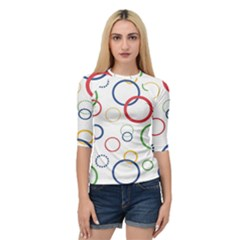 Circle Round Green Blue Red Pink Yellow Quarter Sleeve Tee