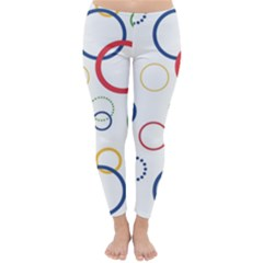 Circle Round Green Blue Red Pink Yellow Classic Winter Leggings