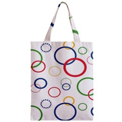 Circle Round Green Blue Red Pink Yellow Zipper Classic Tote Bag