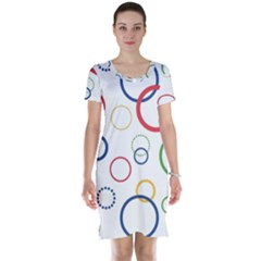 Circle Round Green Blue Red Pink Yellow Short Sleeve Nightdress