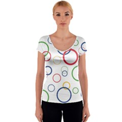 Circle Round Green Blue Red Pink Yellow Women s V-Neck Cap Sleeve Top