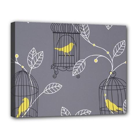 Cagr Bird Leaf Grey Yellow Canvas 14  x 11