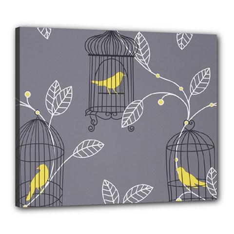 Cagr Bird Leaf Grey Yellow Canvas 24  x 20