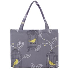 Cagr Bird Leaf Grey Yellow Mini Tote Bag