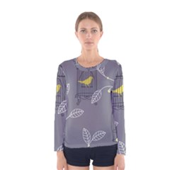 Cagr Bird Leaf Grey Yellow Women s Long Sleeve Tee