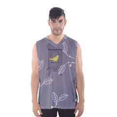 Cagr Bird Leaf Grey Yellow Men s Basketball Tank Top