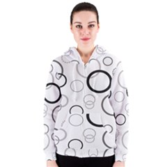 Circle Round Black Grey Women s Zipper Hoodie