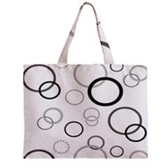 Circle Round Black Grey Zipper Mini Tote Bag