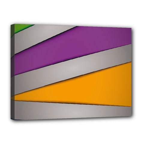 Colorful Geometry Shapes Line Green Grey Pirple Yellow Blue Canvas 16  x 12
