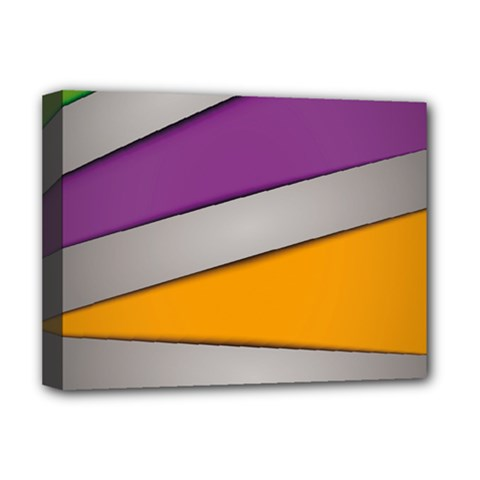 Colorful Geometry Shapes Line Green Grey Pirple Yellow Blue Deluxe Canvas 16  x 12
