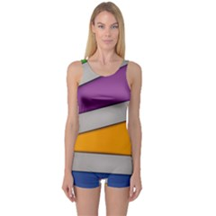 Colorful Geometry Shapes Line Green Grey Pirple Yellow Blue One Piece Boyleg Swimsuit