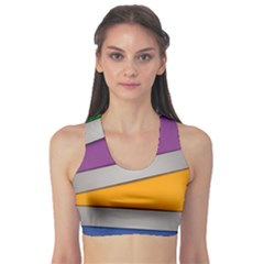 Colorful Geometry Shapes Line Green Grey Pirple Yellow Blue Sports Bra