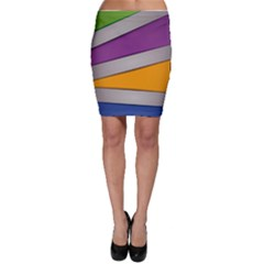 Colorful Geometry Shapes Line Green Grey Pirple Yellow Blue Bodycon Skirt