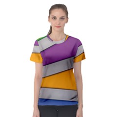 Colorful Geometry Shapes Line Green Grey Pirple Yellow Blue Women s Sport Mesh Tee