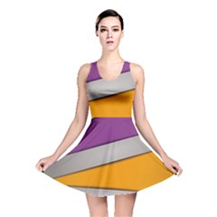 Colorful Geometry Shapes Line Green Grey Pirple Yellow Blue Reversible Skater Dress