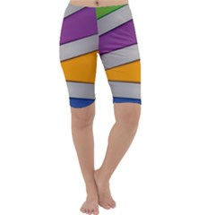Colorful Geometry Shapes Line Green Grey Pirple Yellow Blue Cropped Leggings