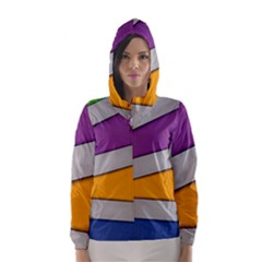 Colorful Geometry Shapes Line Green Grey Pirple Yellow Blue Hooded Wind Breaker (Women)
