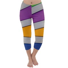 Colorful Geometry Shapes Line Green Grey Pirple Yellow Blue Capri Winter Leggings