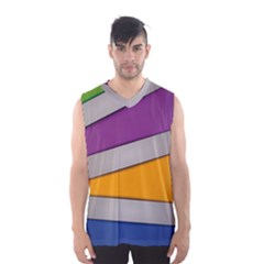 Colorful Geometry Shapes Line Green Grey Pirple Yellow Blue Men s Basketball Tank Top