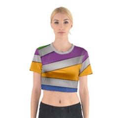 Colorful Geometry Shapes Line Green Grey Pirple Yellow Blue Cotton Crop Top